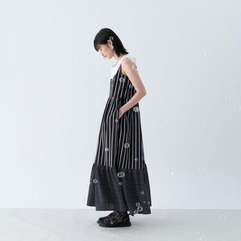 Half round neck long dress