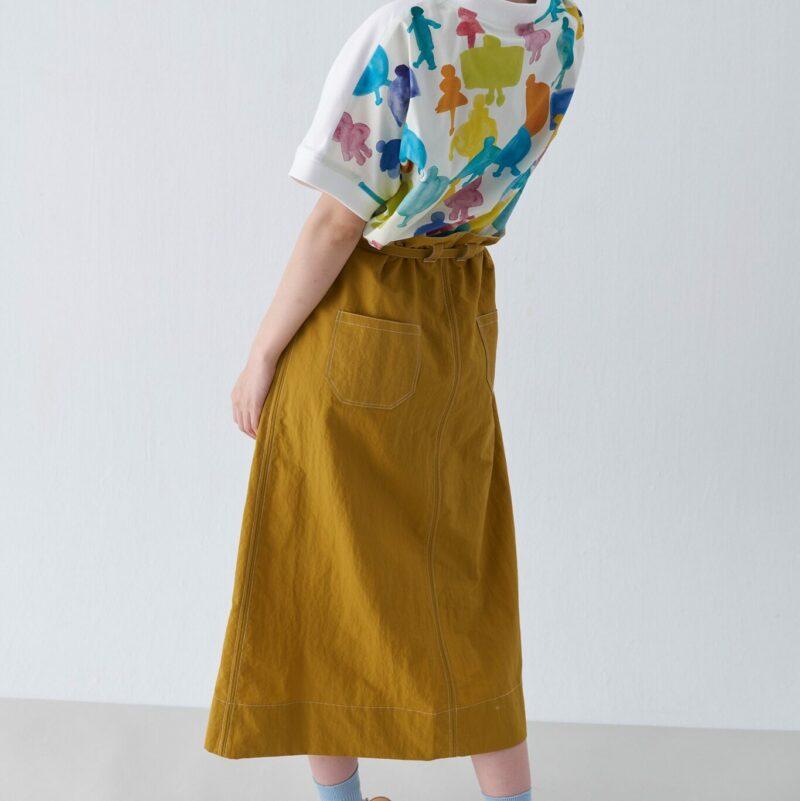 High waist strappy A-line knee skirt
