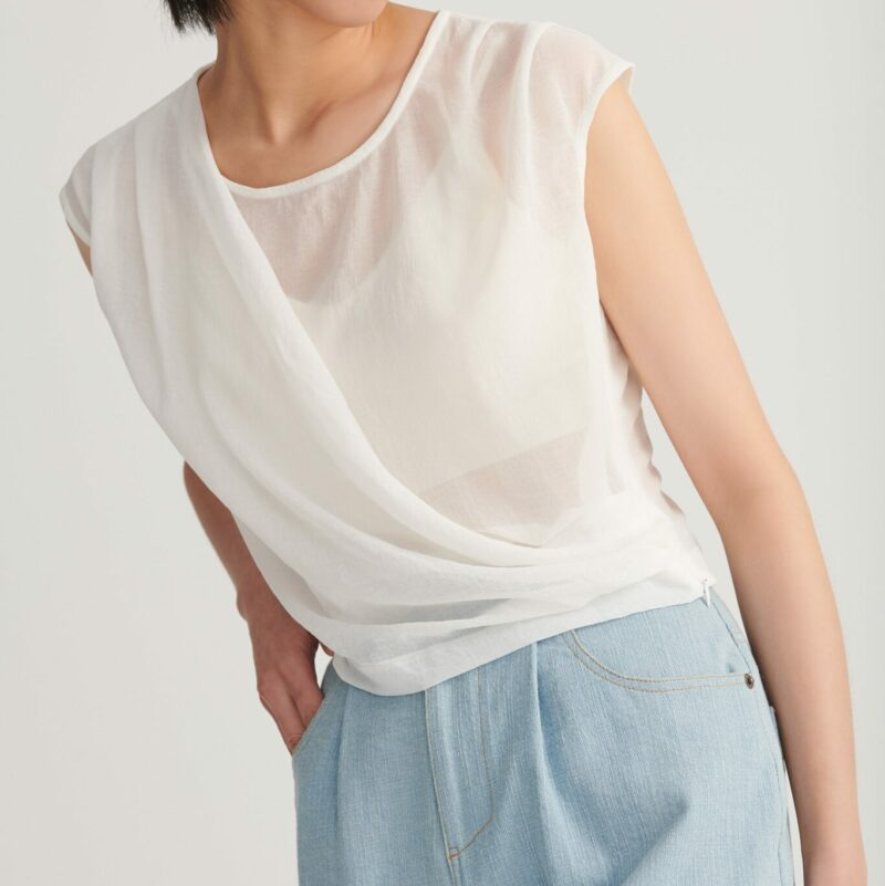 Shan Yong single-sided wrap-around vest top (two colors)