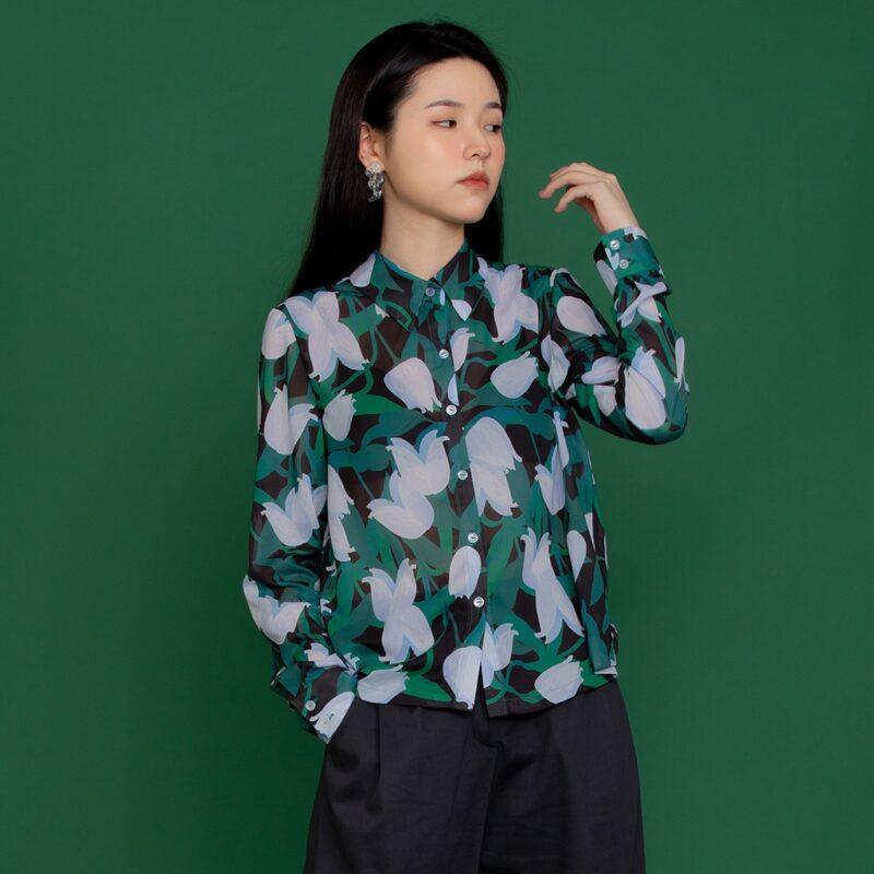 Elegant print long-sleeved shirt