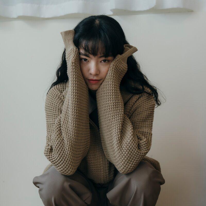hao Beige Knit Zip-Up Cardigan beige zipper wool coat