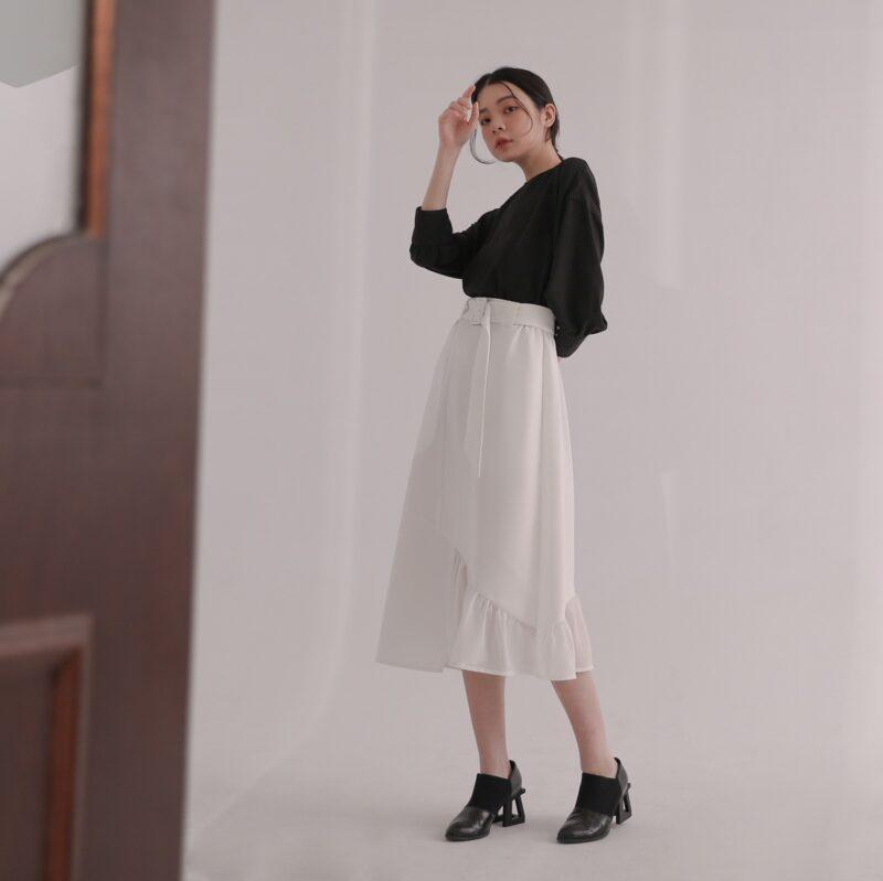 Yanyu_異素材パッチワークロングスカート