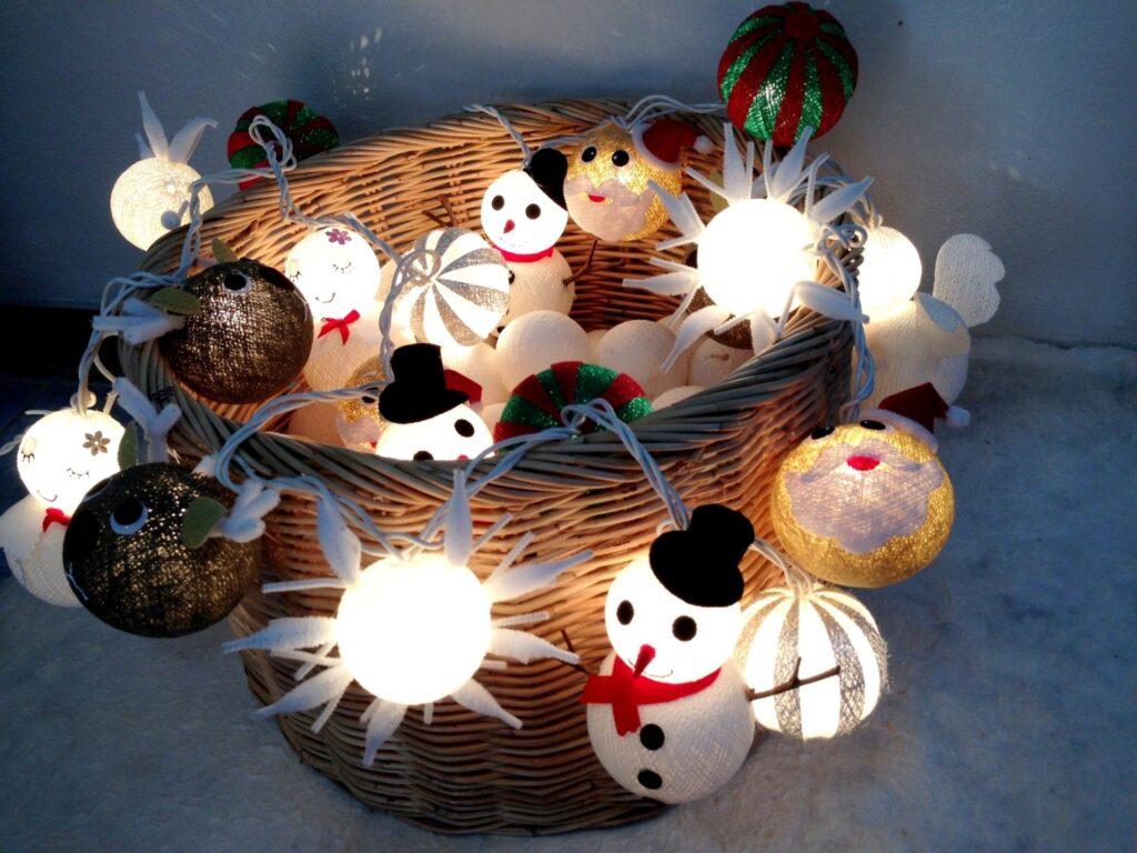 20クリスマスセットコットンボールストリングライトコットンボールストリングライト クリスマス ライト