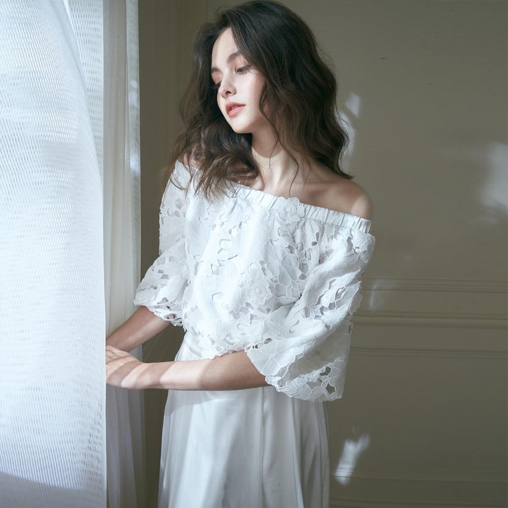 オリーブフラワーウェーブネック刺繍アップリケブラウス+ホワイトロングサテンスカート(ツーピース)ワンピース、ライト