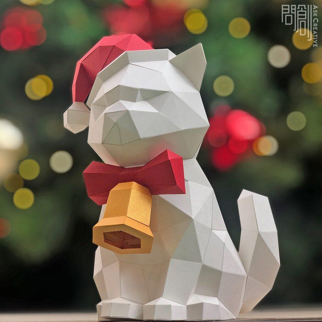 DIY手作り3Dペーパーモデルデコレーションクリスマス/フェスティバルシリーズ-クリスマスキャット(4色オプション)