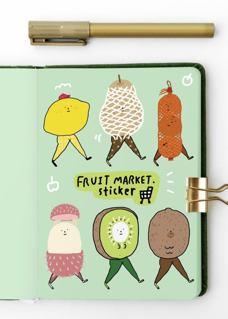 シール Sticker Fruit Market Size A5 Cute and Funny style フルーツステッカー