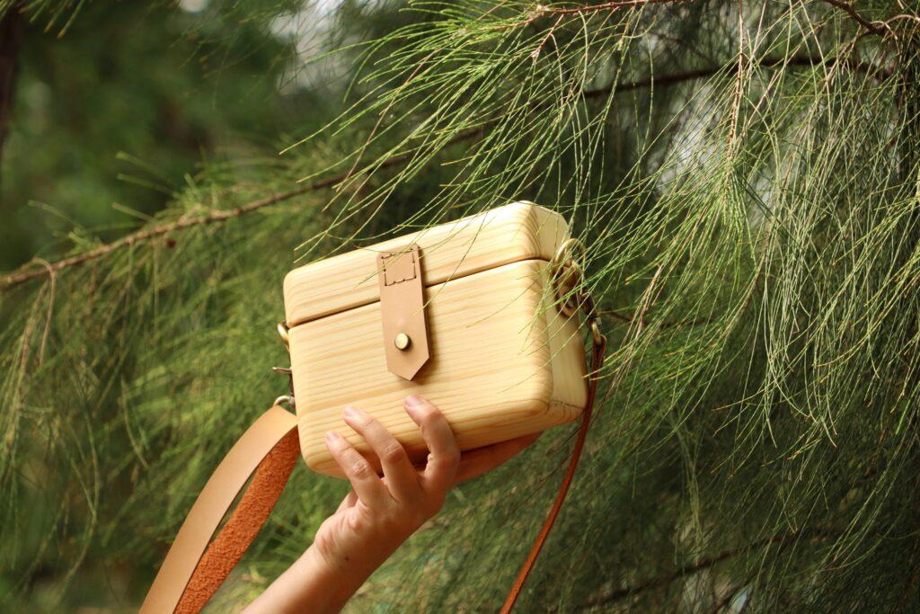 WT木製バッグ-ベージュ タイブランド ウッドバッグ
