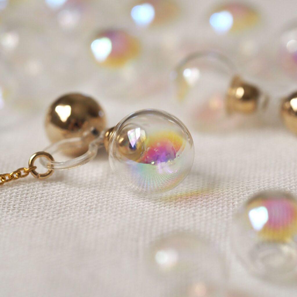 2way - 大人Rainbow - ガラスドームのノンホールピアス