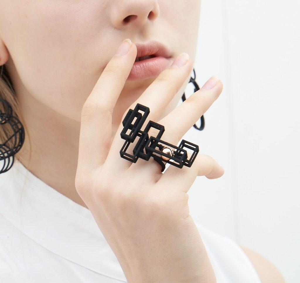 【オプティカルアート】3Dプリント立体四角幾何リング リング 香港ブランド