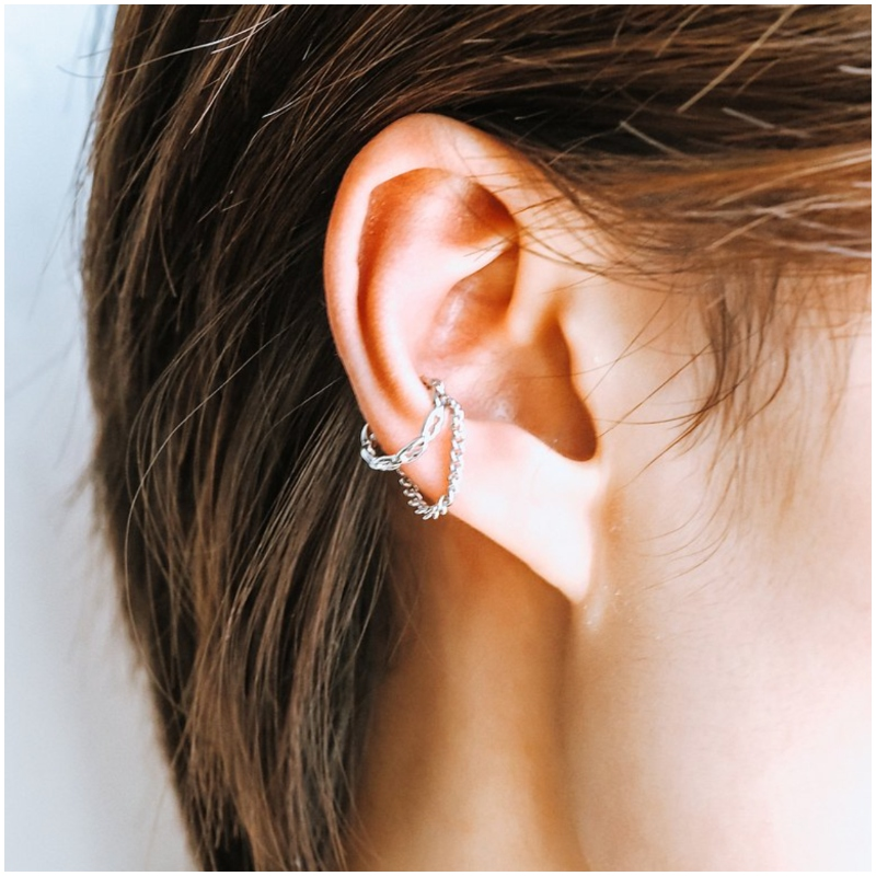 純銀鏈條式 耳骨夾 Ear Cuff
