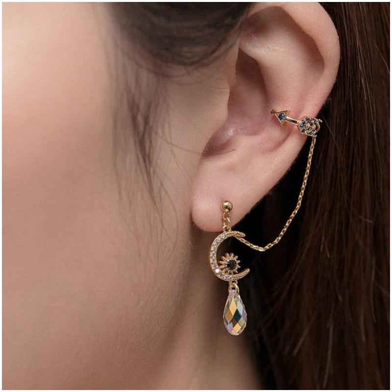 黃銅鍍金月亮水晶 耳骨夾 Ear Cuff