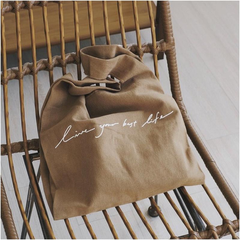 咖啡色棉麻布背心袋