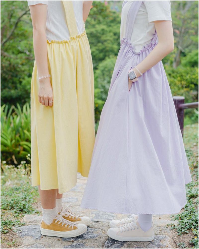 洗水棉不規則高低吊帶連身裙
