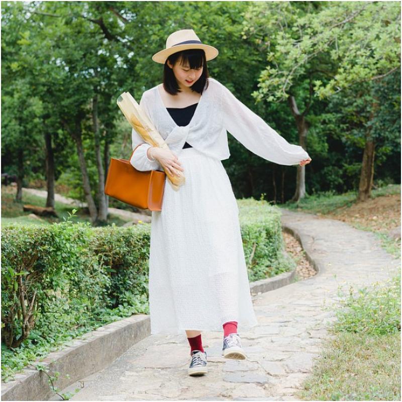 格子紋透透半截裙