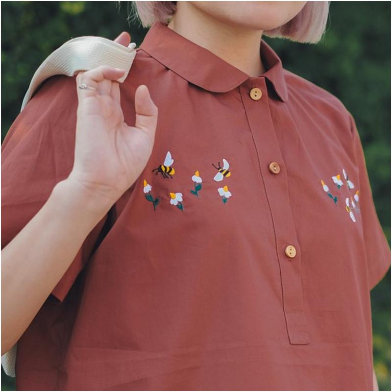 磚色 Lulu 款棉質圓領襯衫