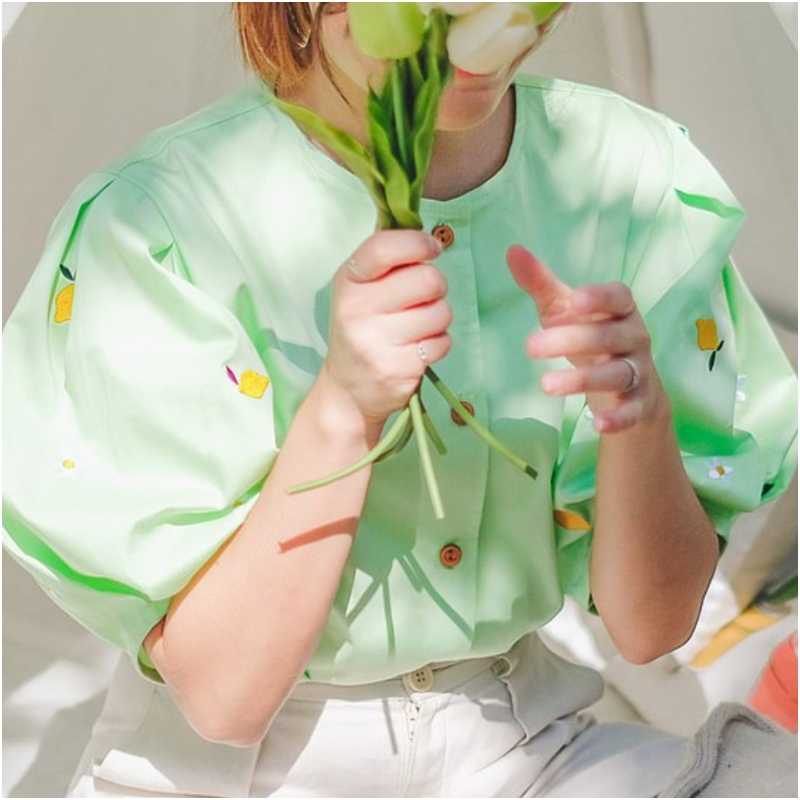 Juliet 寬版棉質上衣 : Lemon Lime 檸檬