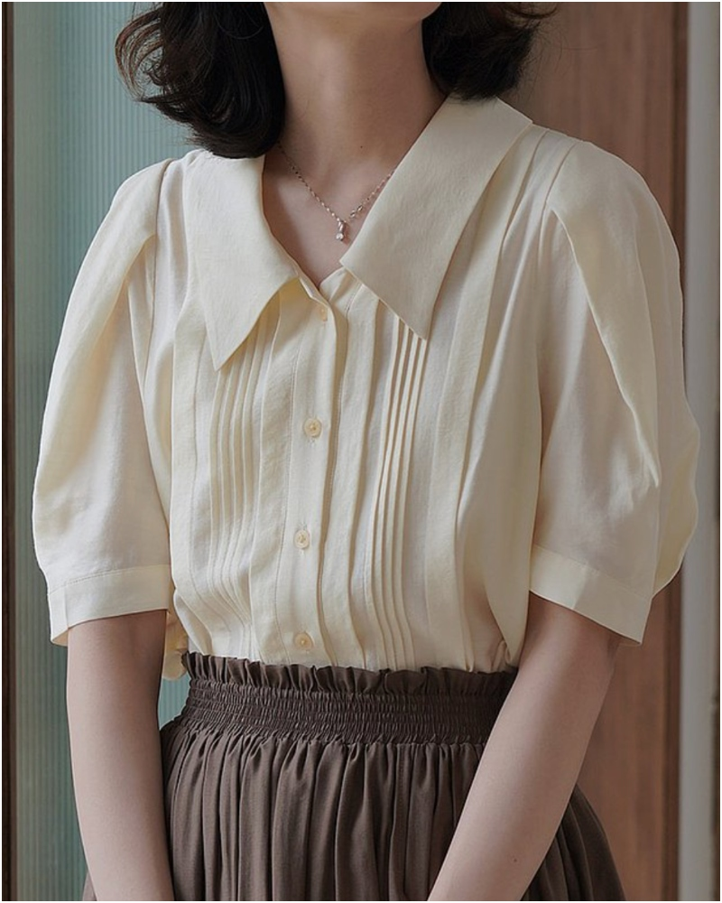 法式風琴褶短袖襯衫