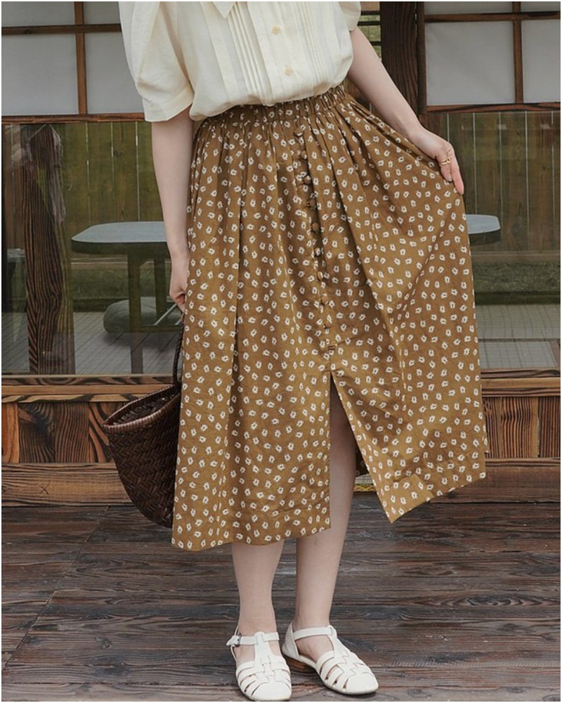 姜黃色高腰松緊碎花半裙