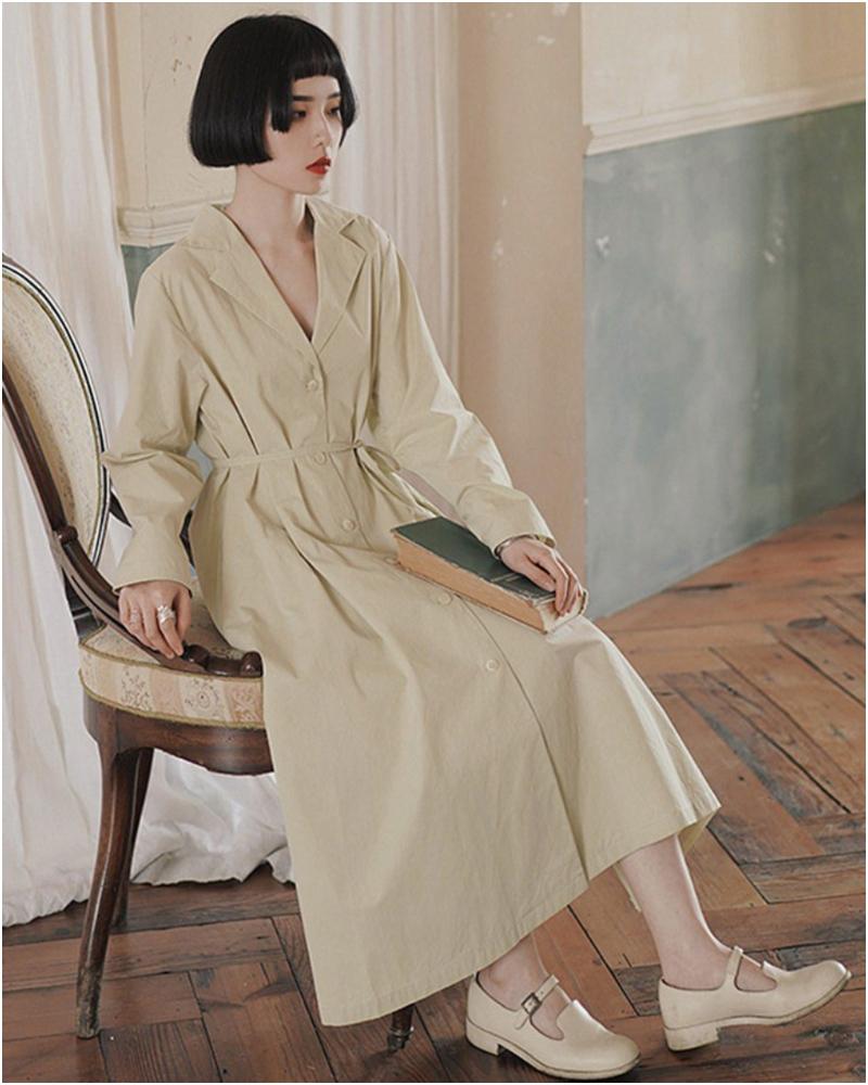 精緻西裝領風衣式收腰長裙