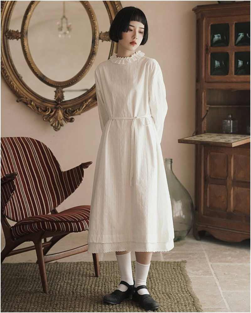 白色雙層不透法式復古長裙