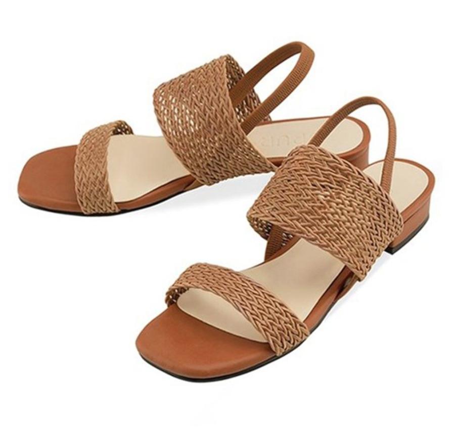 藤網織帶涼鞋
