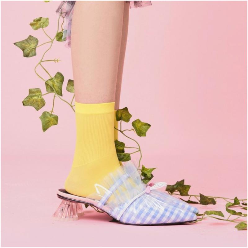 小方頭TPU網紗水晶跟鞋