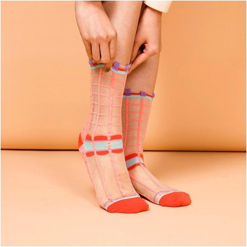 點點格子透紗中筒襪
