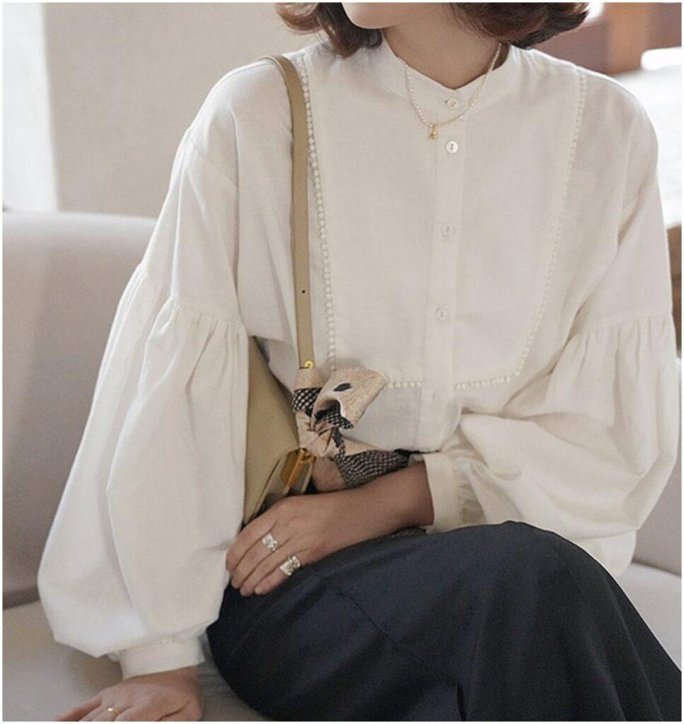 白色圓領泡泡袖襯衫(按上圖訂購)