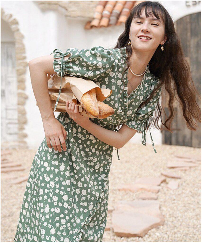 法式綠色花紋連衣裙