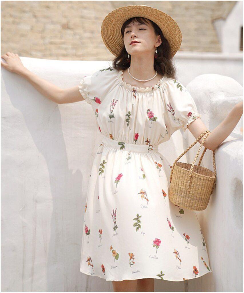 復古花卉印花連衣裙
