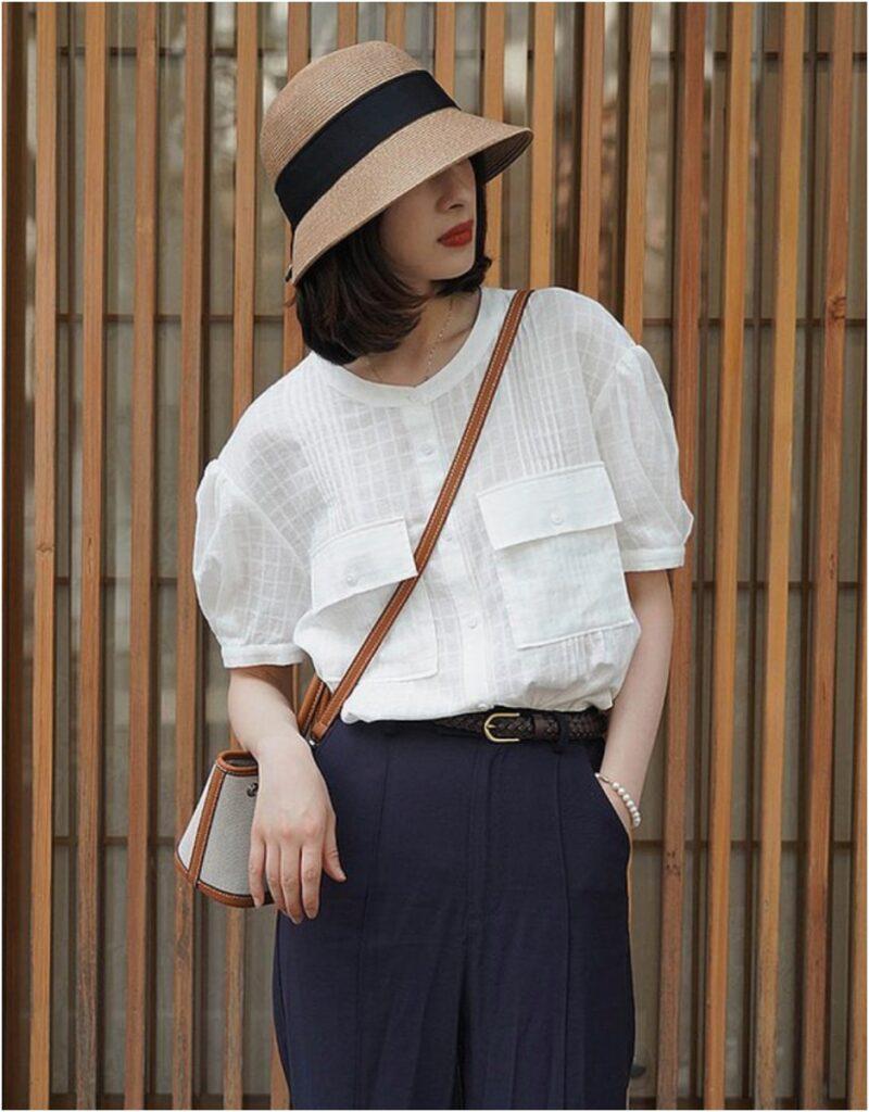 白色提花圓領短袖襯衫