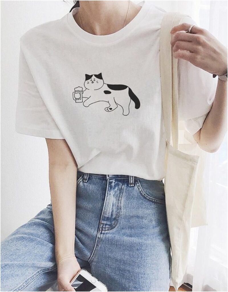 貓咪啤酒短袖T恤