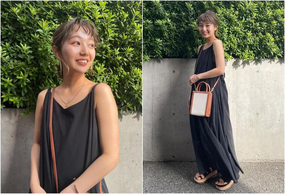 日系風格小黑裙更為輕爽,帶日常穿搭的悠閒感。