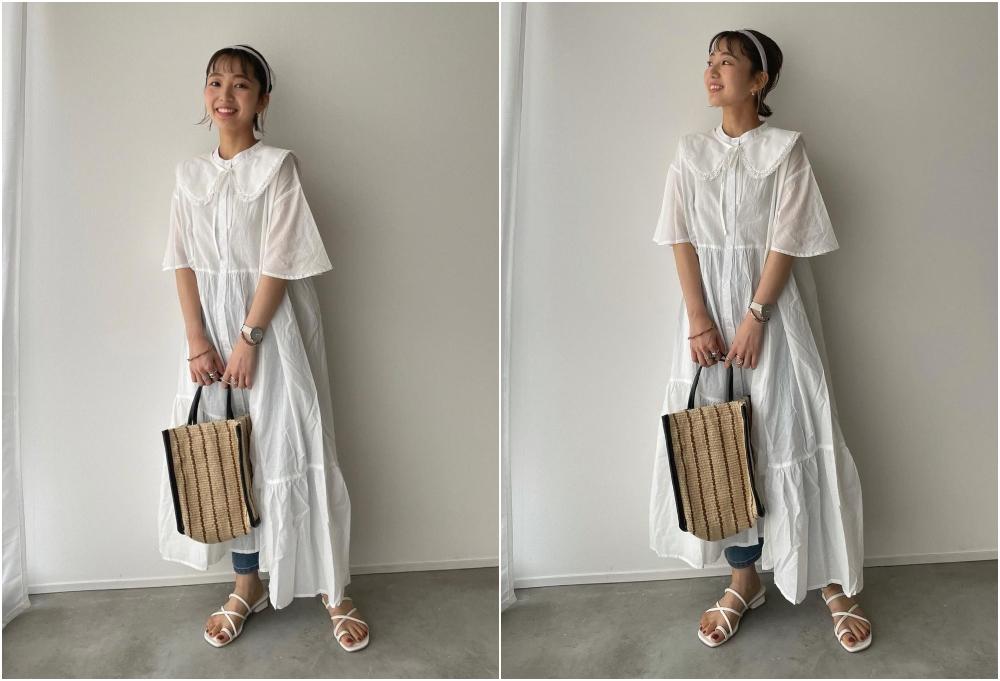 小白裙加上窄腳牛仔褲作出層次配搭,更具個人風格。(IG:@kooooomi64)