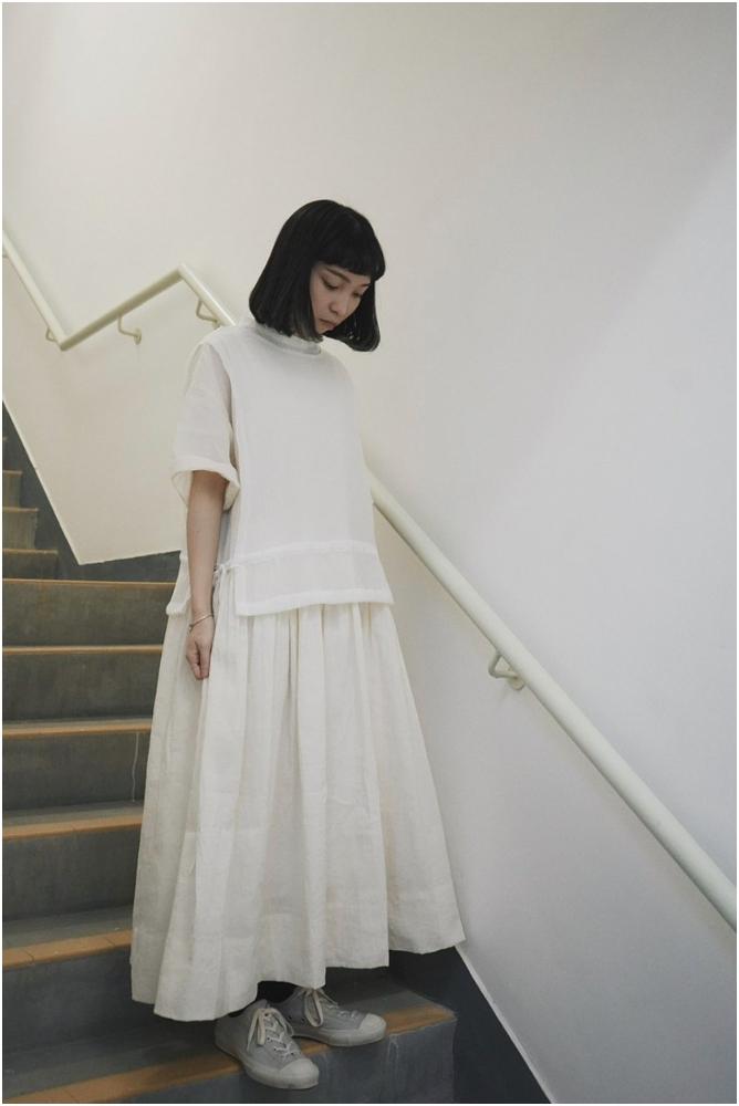 織紋連身裙-米白(按上圖訂購)