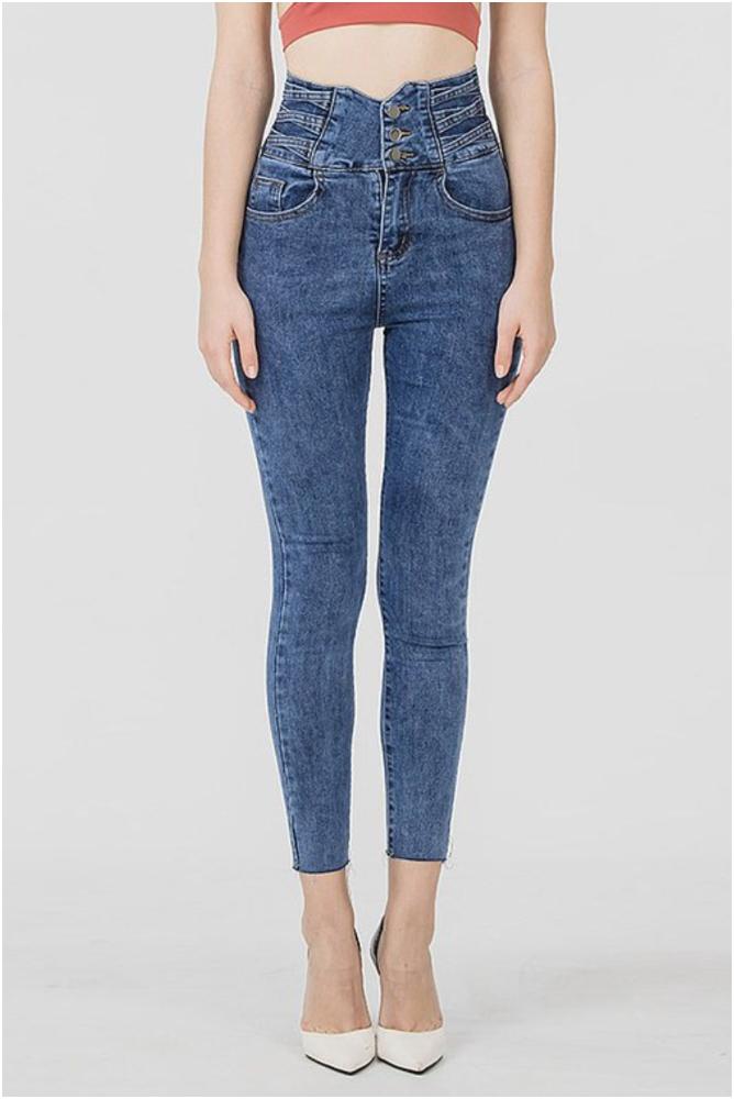 超模身段高腰排釦牛仔褲(按上圖訂購)