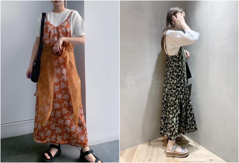 印花裙子加上白色內搭,可平衡印花裙的隆重感,更添日常氣息。(IG:@_sawakuwahara_)