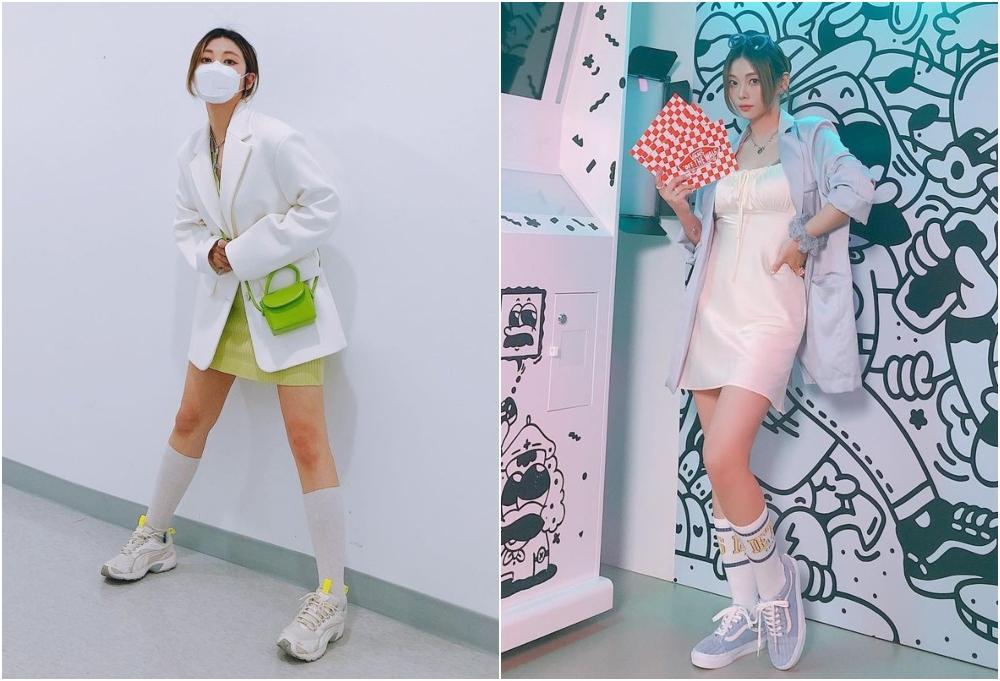 韓系裙子穿搭更為活潑,近期最流行的必數西裝外套配迷你連身裙!(IG:@heynee_showindow)