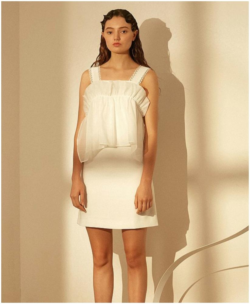 白色柯根紗連身短裙(按上圖訂購)