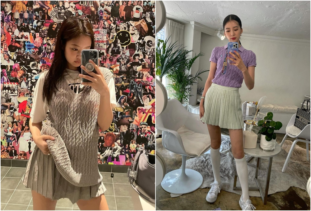 BLACKPINK成員Jennie最愛學院風的裙子穿搭!(IG:@jennierubyjane 、@ireneisgood)