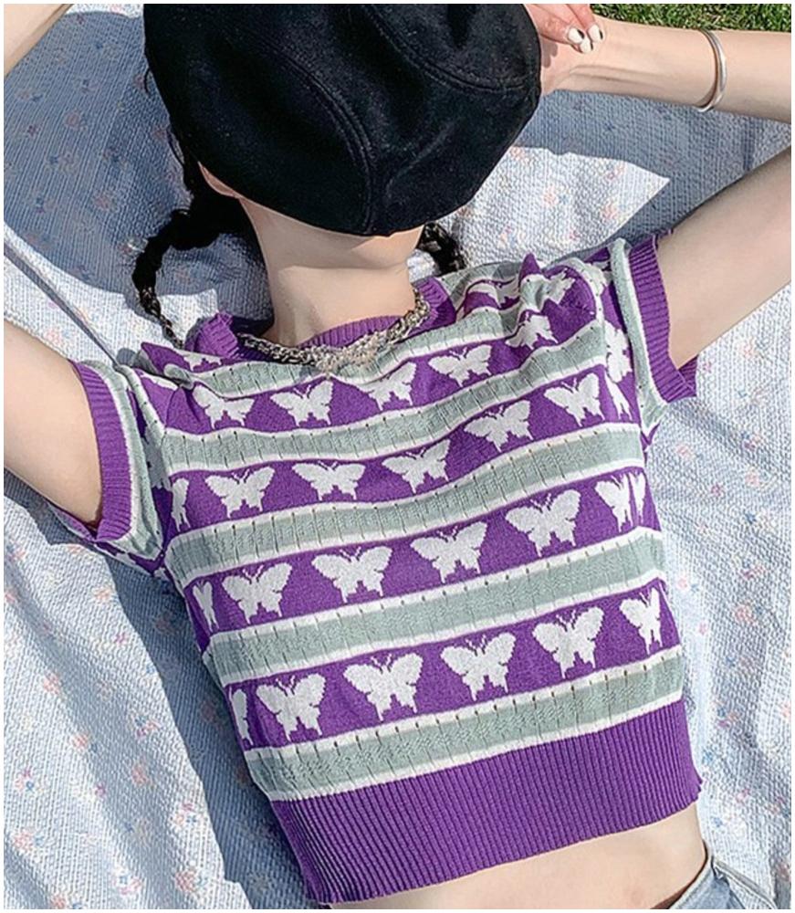 香芋紫色薄款針織t恤(按上圖訂購)
