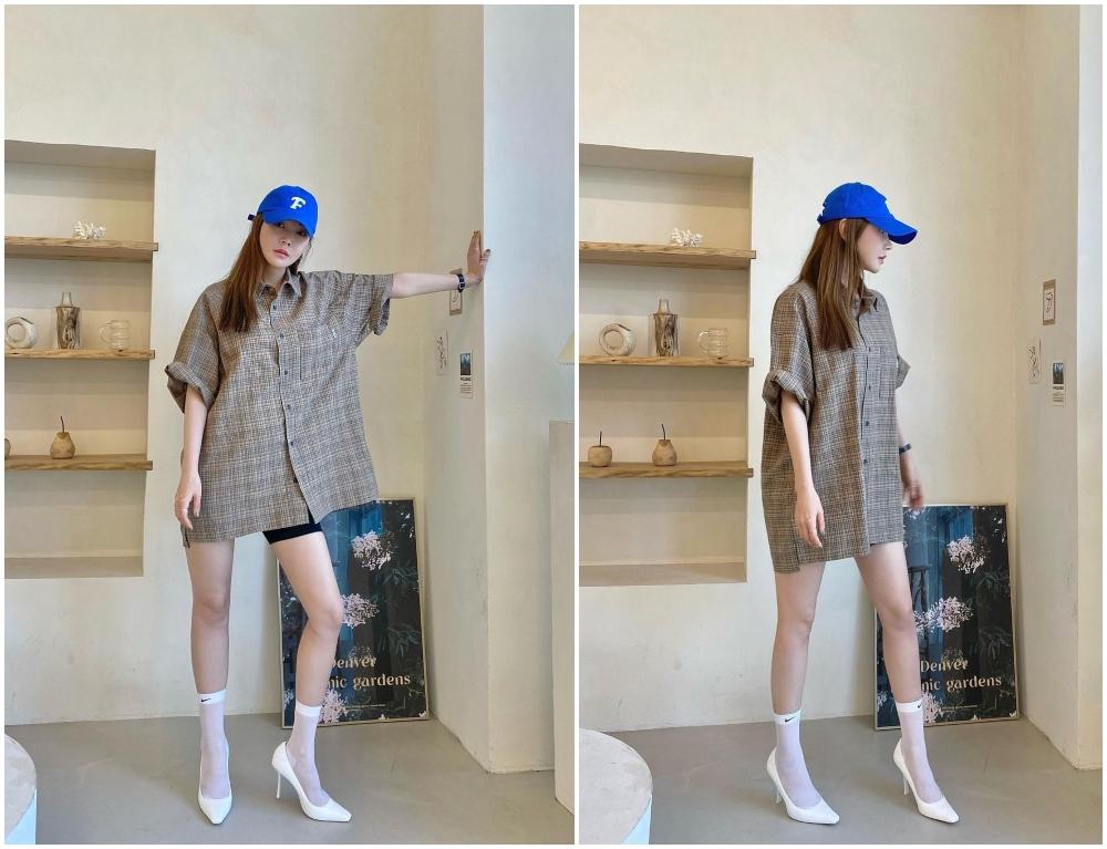 格仔恤衫裙輕性感的傭懶風格,加上棒球帽極具隨性感覺。