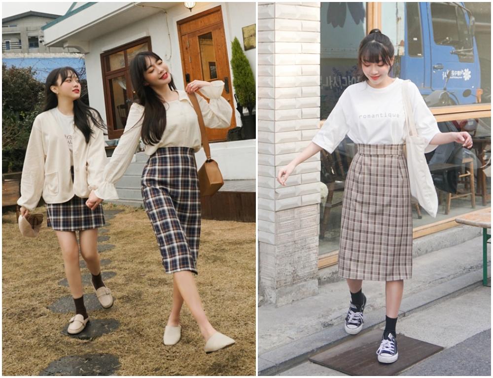 格仔裙是衣櫃的必備單品,極易配襯出優雅的日常造型!