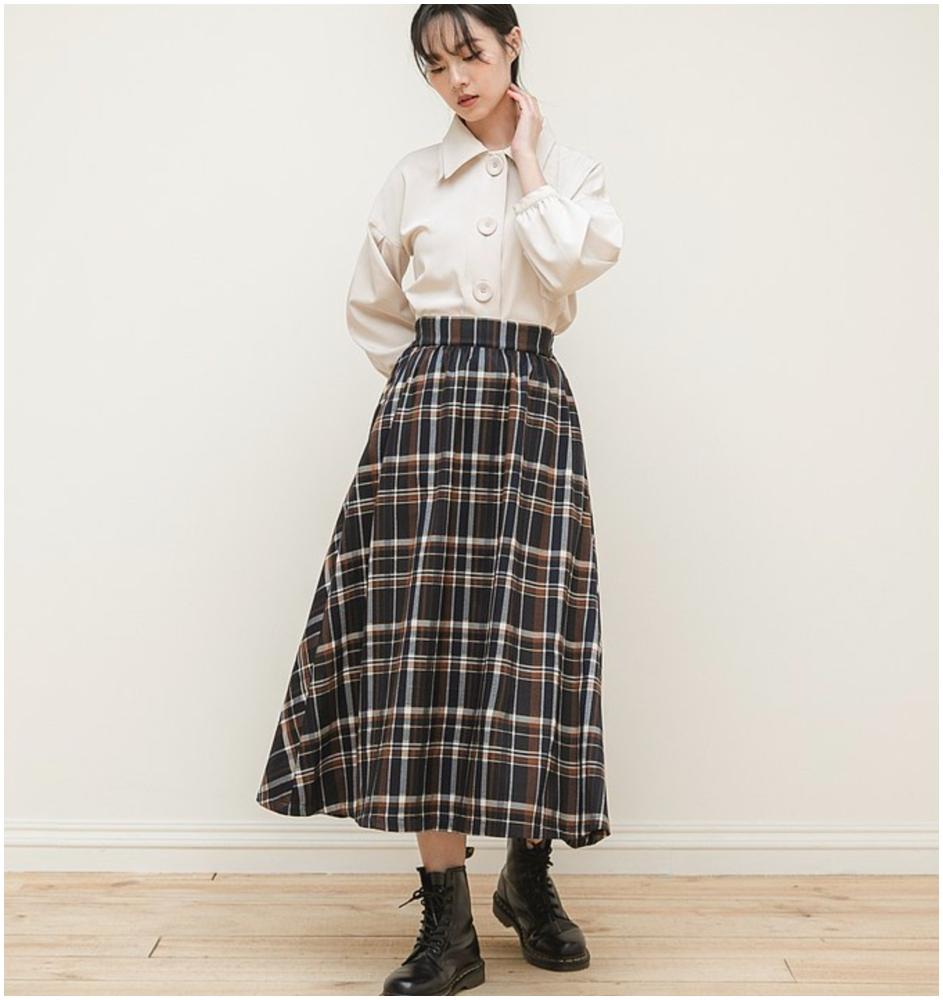 不對稱格紋裙(按上圖訂購)