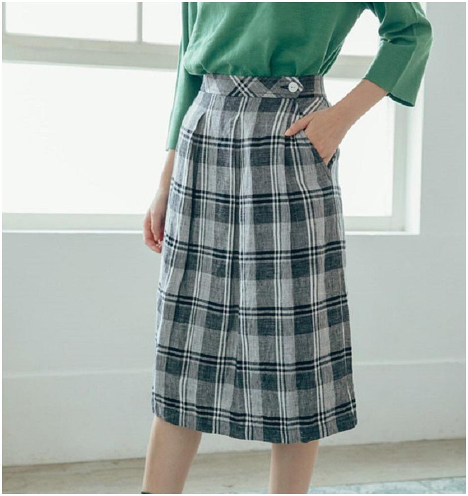 小步漫舞棉麻格紋裙(按上圖訂購)