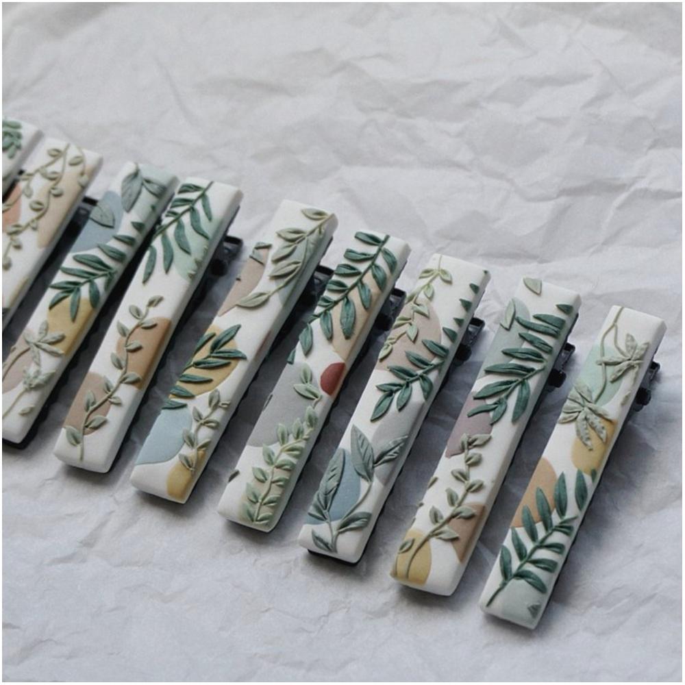 草綠葉軟陶髮夾(按上圖購買)
