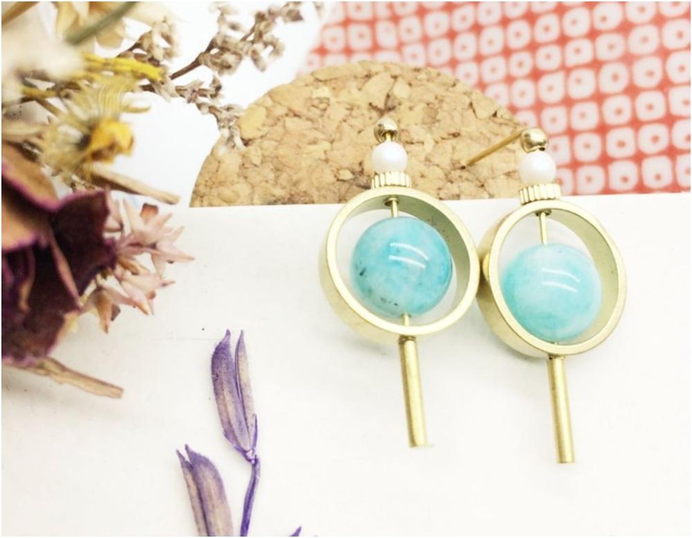 天河石黃銅耳環(按上圖訂購)