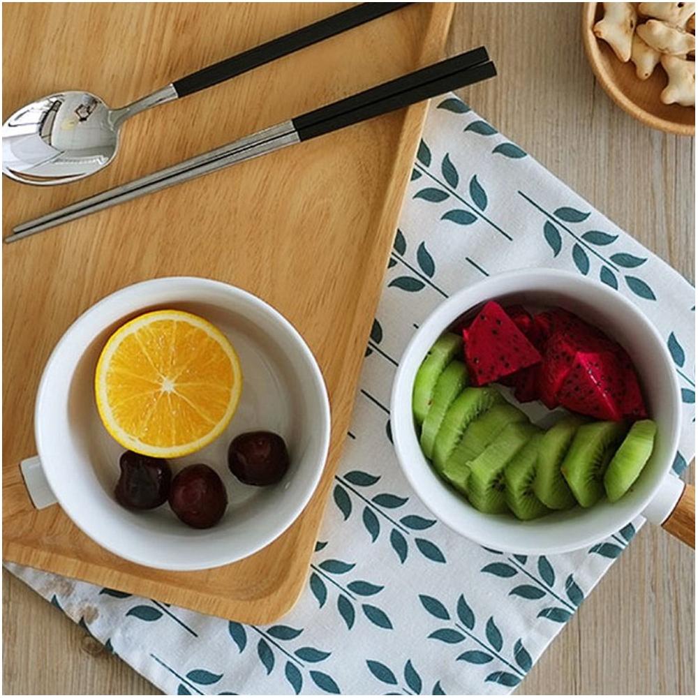 LINKIFE 白瓷系列 日式簡約竹柄早餐碗(按上圖訂購)