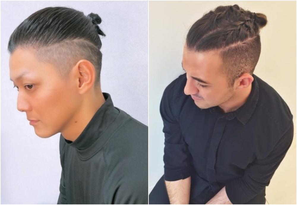 「鏟青」丸子頭兩側「鏟青」 Undercut 而頭頂的髮絲留有一定長度,可使用橡筋簡單束起丸子頭。