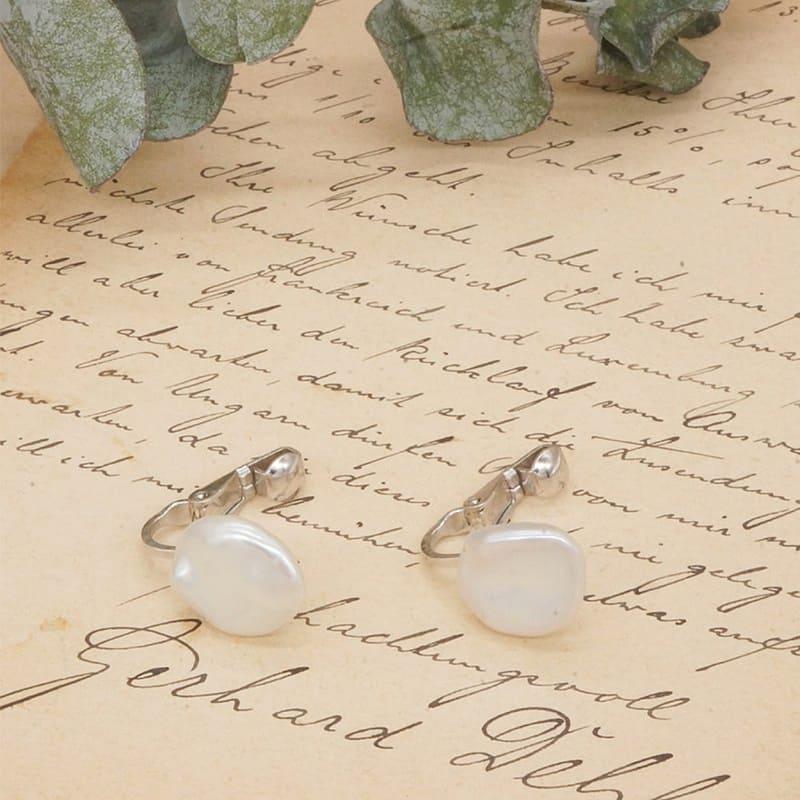 珍珠無痛夾式耳環